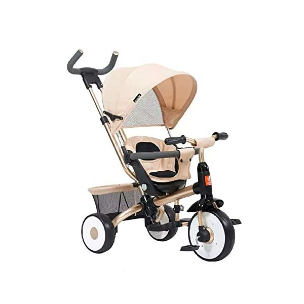BGHKFF 4 In 1 Childrens Tricycles 9 Months To 4 Years Stable Kids' Trikes Removable Shade Canopy Detachable And Adjustable Push Handle Versatile Kids Tricycle Maximum Weight 30 Kg,Gold BGHKFF ★Material: Carbon steel frame, golden triangle structure, protect your baby's safety, suitable for children from 9 months to 4 years old, maximum weight 30 kg ★ Baby car safety design: safety seat, detachable and adjustable parent handlebar, folding and detachable cover to protect children from UV damage ★ 4 in 1 multi-function: can be converted into a stroller and a tricycle. Remove the hand putter and awning as a tricycle. 1