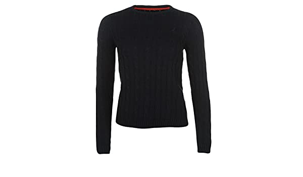095615a57d Kangol Womens Cable Knit Jumper Long Sleeve Crew Neck  Amazon.co.uk   Clothing