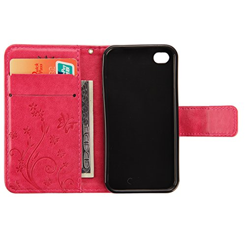 iPhone SE Hülle, iPhone 5S Hülle,SainCat iPhone SE/5S Ledertasche Brieftasche im BookStyle PU Leder Wallet Case Folio Strass Schmetterling Silk Muster Schutzhülle hülle Bumper Handytasche Skin Backcov Schmetterling Blumen-Rosa