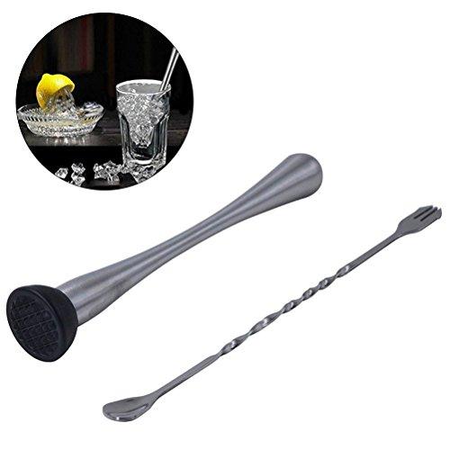 OUNONA Edelstahl Cocktail Stößel und Mix Barlöffel machen Aroma Bursting Cocktails mit Leichtigkeit für Bar Pub Home