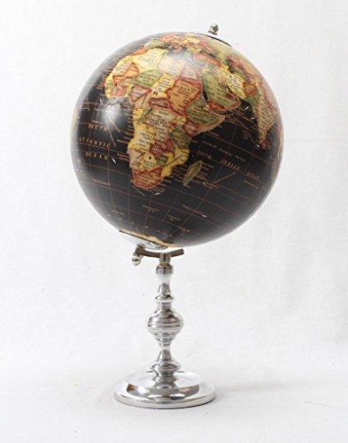 Brass & Copper Classics 8 inch Big Desktop Rotating Vintange / Antique Style Educational World Globe / Earth Globe / Political Globe / Geography Globe/ Office Globe / Home Decor / Study Globe with Aluminium Stand - Black Multi Golden
