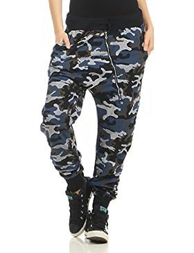 malito Pantalón Camouflage-Design con Zipper Boyfriend Torcedura Baggy Aladin Bombacho Sudadera envolver 3345...