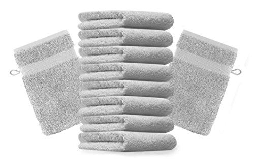 BETZ Lot de 10 Gants de Toilette Taille 16x21 cm 100% Coton Premium Color Gris argenté