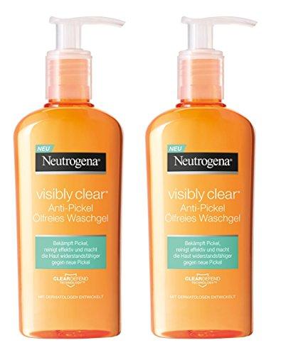 Neutrogena Visibly Clear Anti-Pickel Ölfreies Waschgel - Reinigendes Waschgel für das Gesicht zur Vorbeugung von Unreinheiten & Mitessern - 2 x 200ml
