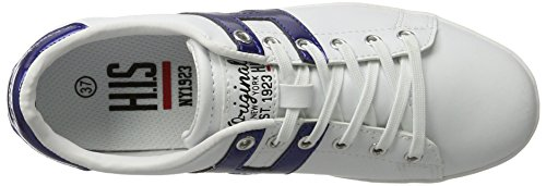 H.I.S Damen 16mcb002 Sneakers Weiß (white/blue)