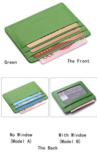 Cardholder aus samtweichem, europäischem Leder mit Platz für sechs Kreditkarten, Card Holder Kreditkartenhalter Kartenetui Kreditkarte Kartenhalter grün