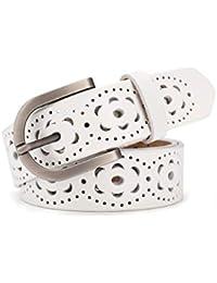 Lalafancy Cinturón de las mujeres de cuero genuino del zurriago de la  vendimia Moda diseño floral a4d54d04a17b