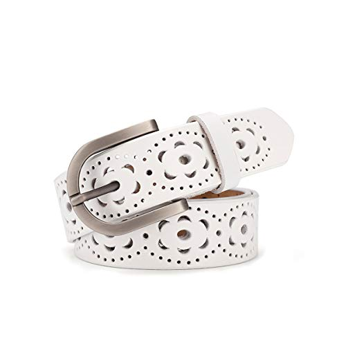 Cintura donna vintage vera pelle di vacchetta Cintura moda donna design motivo vuoto con fibbia lega per jeans