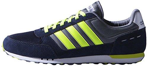 Adidas Herren City Racer trainers-navy/grau/lime/weiß, Größe 8 Navy/Grey/Lime/White