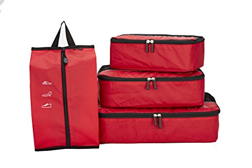 SACSTAR Viaggi Imballaggio Cube Bag Set Abbigliamento Organizzatore Small Medium Large Per Il Bagaglio a Accessori 4 Pezzi, Rosso