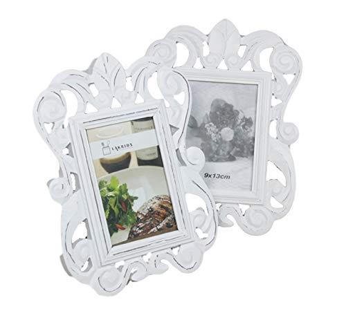 2 x marcos de fotos blanco envejecido conjunto de 2 barroco