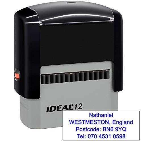 Timbri Personalizzati (47 x 18 mm-4 righe)- Timbro autoinchiostrante, personalizzabile- Ritorna il timbro dell'indirizzo personalizzato, Blu
