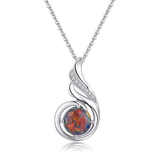 Sterling Silber phönix halskette Opal Schmuck für Frauen Mädchen Anweisung Halskette Geburtstagsgeschen (Kostüm-schmuck-silber-halskette)
