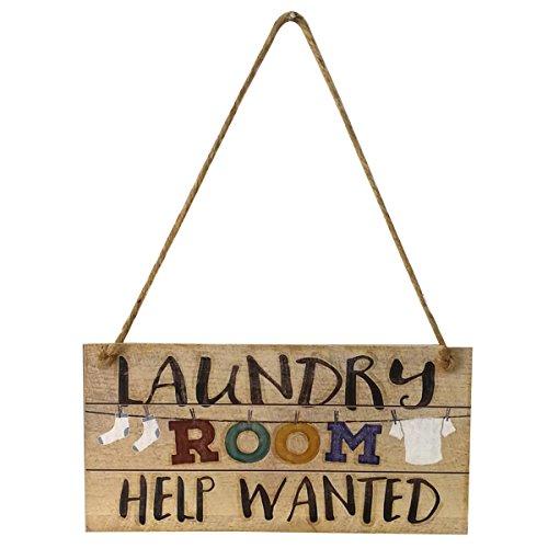 VORCOOL lavandería Sign Shabby Chic Vintage para la pared sala de lavandería pared placa decorativa para colgar pared puerta signo decoración adorno