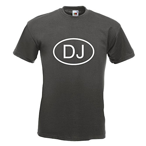 KIWISTAR - Dschibuti DJ T-Shirt in 15 verschiedenen Farben - Herren Funshirt bedruckt Design Sprüche Spruch Motive Oberteil Baumwolle Print Größe S M L XL XXL Graphit