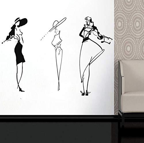 Likeai Wandaufkleber Gruppe Mode Dame Silhouette Vinyl Aufkleber Fenster Applique Kostüm Boutique Mode Stil Schaufenster Wandbild 167 * 120 cm (Gruppe Lustig Kostüme)