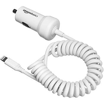 AmazonBasics - Kfz-Ladegerät mit Lightning-Anschluss, Spiral-Kabel, 5V, 2,4A, 0,45 m, Weiß