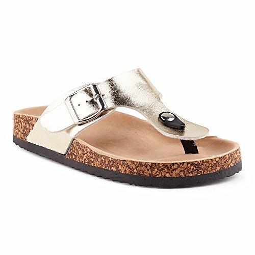 Fusskleidung Damen Riemchen Sandalen Zehentrenner Komfort Sandaletten Lack Schlappen Hausschuhe Pantoletten Schuhe Köln-Gold-3 EU 38