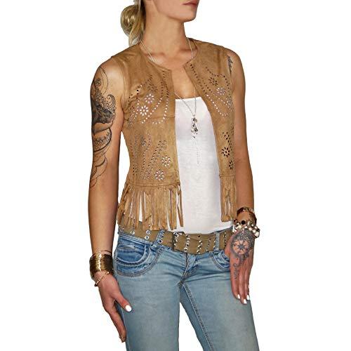 0e996c279adad3 Dresscode-Berlin DB Damen Weste im Boho Wildleder Look mit Fransen in Camel,  Rose und beige (XL, Camel)