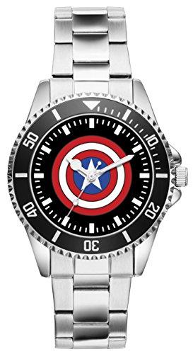 Captain America Shield Marvel Comic Hero Flash Superman Geschenk Fan Artikel Zubehör Fanartikel Uhr 1663 (Runde-flash-laufwerk)