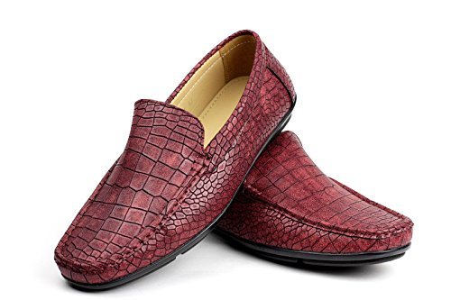 Slip Driving Stile On Bordeaux Coccodrillo Motivo Mocassino Albertini UKSize Elegante Mocassini Casual Scarpe Uomo CYw511