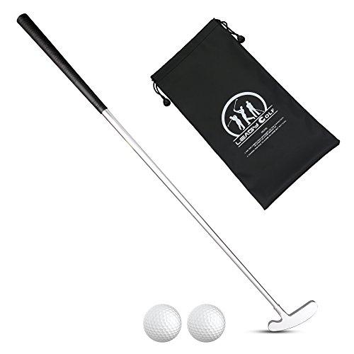 LEAGY - Putter pour gaucher ou droitier en 4 parties - Alliage de zinc blanc - Avec 2 balles blanches et un sac no