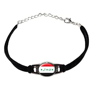 Iraq Iraqi Flag - Novelty Suede Leather Metal Bracelet - Black