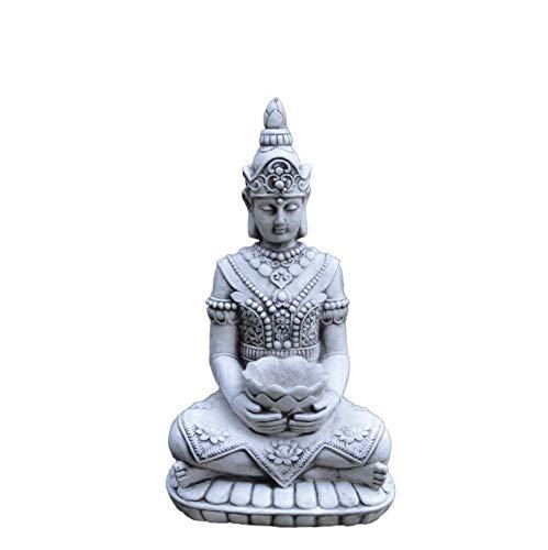 gartendekoparadies.de Wunderschöner, großer Tempelwächter Stein Buddha – Figur Feng Shui aus Steinguss, frostfest