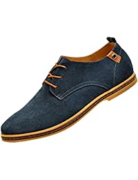 Gleader NUEVOS zapatos de gamuza de cuero de estilo europeo oxfords de los hombres casuales Azul(tamano 47)