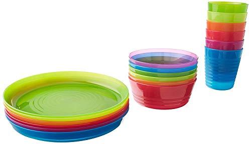 IKEA - KALAS - Juego de 6 cuencos de colores para niños, vaso y plato, color multicolor Set de 36