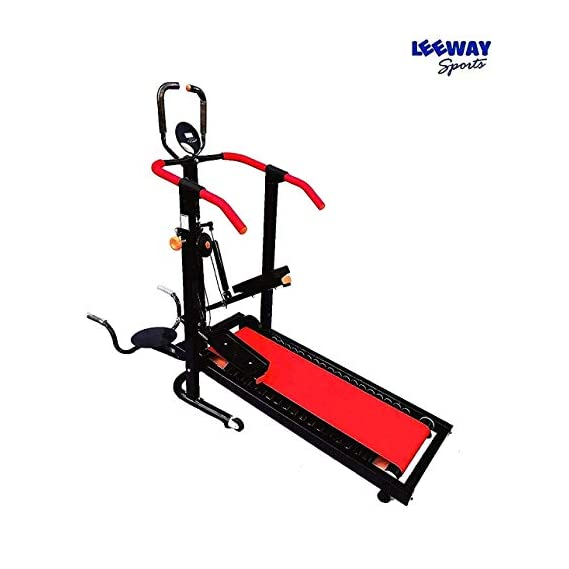 Leeway Orbitrek 4 in 1 Exercise Bike| Multi Orbitrac Elliptical Cardio Workout|Orbitrack Dual Action Trainer with Seat| Fitness Cross Trainer Cycle| Sitting Pedaling/Standing Rowing| orbitrack cycle