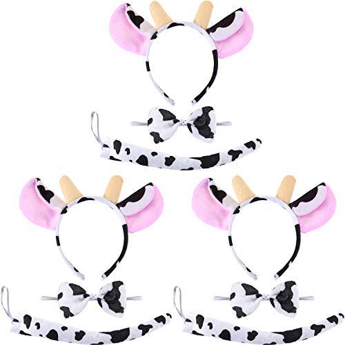 Kuh Kostüm Stirnband - WILLBOND 9 Stücke Kuh Thema Kostüm Satz mit Kuh Ohren Stirnband, Kuh Fliege und Kuh Schwanz für Halloween Cosplay Kostüm oder Party Dekoration