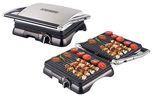 Steinborg - Kontaktgrill Panini-Maker elektischer Tischgrill Sandwichtoaster Elektrogrill | 2000 Watt | 180° Aufklappbar | Anti-Haftbeschichtung | Thermostat | Cool-Touch-Technologie | Fettauffangschale