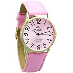 Unisex Gold Plated Mondex / Azaza / MABZ PU Leather Strap Watch (Pink Strap With Pink Dial)