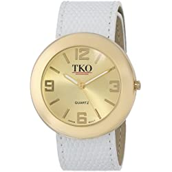TKO ORLOGI Women's TK616-GWT Watch with White Genuine Leather Band