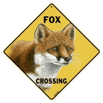Crosswalks Fox Crossing 12 x 12 en Aluminium Sign par