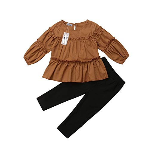 Wang-RX Weinlese-Kleinkind-Mädchen kleidet Normallack-Lange Laternen-Hülsen-gefaltete Bluse Tops + Long Pencil Pants Autumn Set