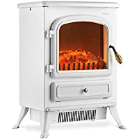 VonHaus Electric Fireplace Stove Heater with Flame Effect White, 1850W – Portable Freestanding Fire Place Log Burner Light