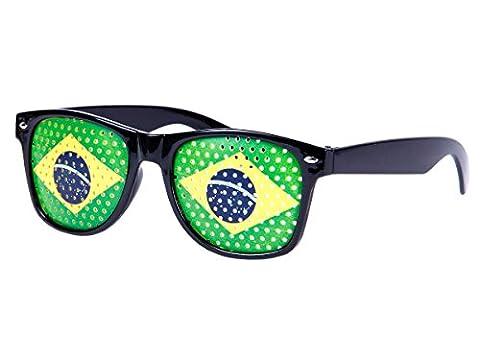 Lunettes à grille à trous Design Drapeau pays coupe du monde foot soirée évenement à thème humoristiques deguisement fête, choisir:V-1156 Brésil