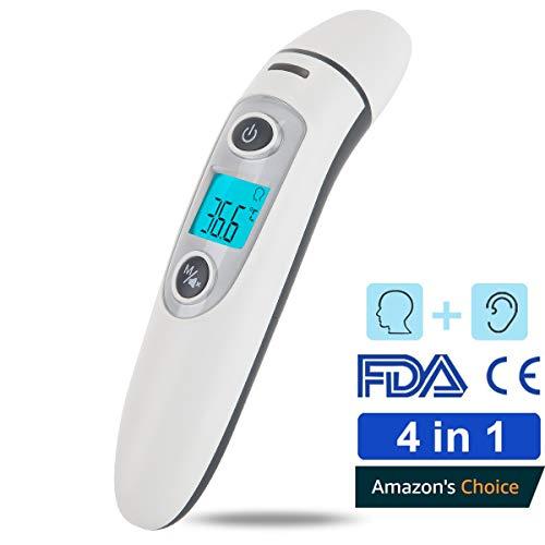 Termometro per orecchio e fronte, hkiytime precision professional termometro digitale a infrarossi per neonati, bambini e adulti con lettura immediata, allarme febbre, certificazione ce e fda
