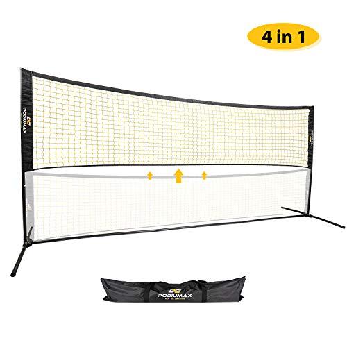 PodiuMax 4 in 1 Mini Badminton Netz, höhenverstellbar für Volleyball, Fußballtennis, Pickleball, einfache leicht aufgebaut, festes und stablies Netz für Innen- / Außenplätze, Strand, Garten (Tennis-fußball-kinder)
