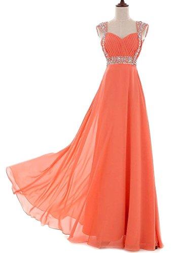 Vantexi Damen Chiffon Lange Abendkleider Ballkleider Orange