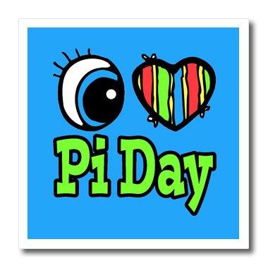 3dRose Bright Eye Herz I Love PI Day-Iron auf Wärmeübertragung, 8von 20,3cm für weiß Material (HT 106379_ 1)