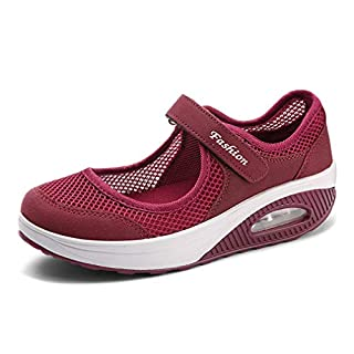 Hishoes Women's Sandals Ladies Mesh Outdoor Sports Shoe Leather Loafers Boat Shoes Lightweight Trainers Moccasins Flats Walking Sneakers Summer 1-Red 4.5 UK