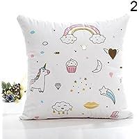 Hongch Cojín de unicornio de dibujos animados Funda de almohada Habitación con sofá cama Arrojar la almohada Suave y cómodo Caballo