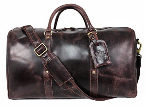 Reisetasche Leder Damen Herren Sporttasche Weekender Board-tasche Echt-Leder Handgepäck-Tasche große Umhängetasche leichtes Duffel Bag Weekend Bordgepäck Leder-Tasche braun Vintage Trifoglio TB08