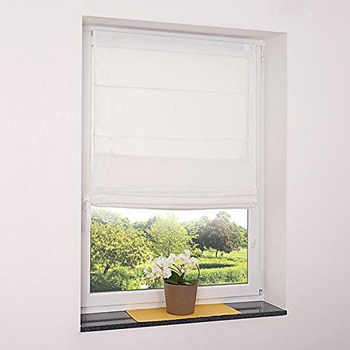 Fenster Raffrollo weiss / tageslicht Raffgardine Faltvorhang Montage ohne Bohren inkl Klemmträger viele Größen 40 / 45 / 50 / 60 / 65 / 70 / 75 / 80 / 90 / 100 / 110 / 120 x 130 oder 150 oder 220 cm (100x130 (B x H in cm))