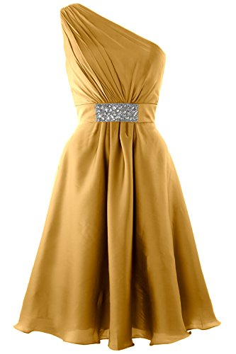 MACloth Elegant One Shoulder Cocktail Dress Short Wedding Party Formal Gown gold