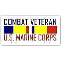 CafePress Combat Veteran USMC Targa in alluminio, Standard, colore: multicolore
