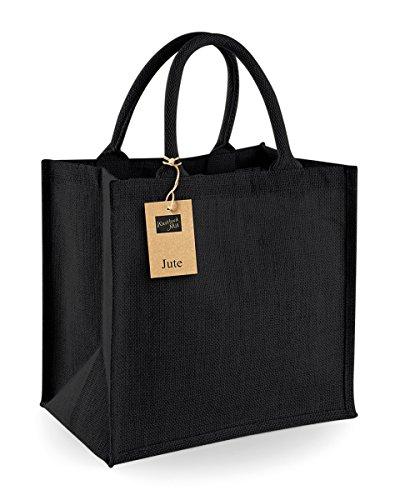 Westford Mill Jute-Tasche/Jute-Einkaufstasche, 14 Liter (Einheitsgröße) (Schwarz/Schwarz)